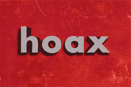 hoax: hoax word on red concrete wall Illustration