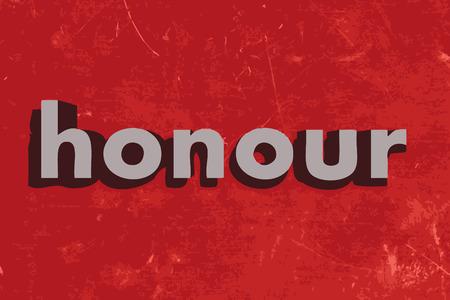 honour: honour word on red concrete wall Illustration