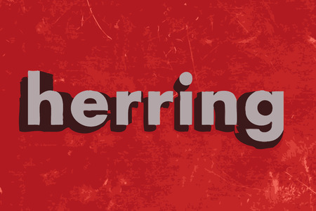 herring: herring word on red concrete wall