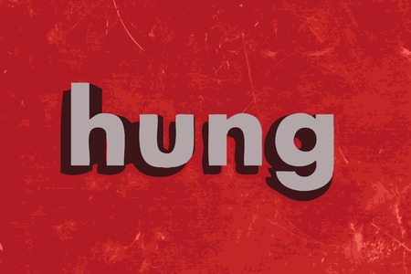 hung: hung word on red concrete wall