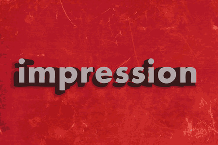 impression: impression word on red concrete wall