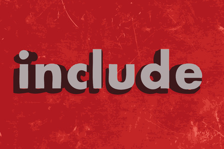 include: include word on red concrete wall Illustration