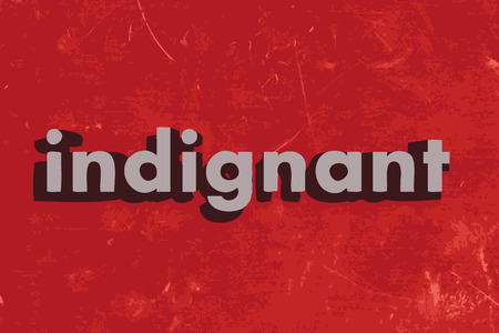 indignant: indignant word on red concrete wall Illustration