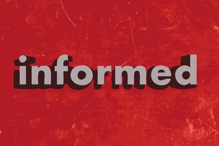 informait: mot inform�s sur le mur de b�ton rouge