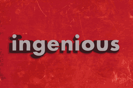 ingenious: ingenious word on red concrete wall Illustration