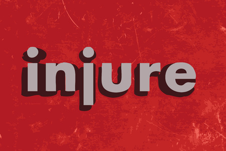 injure: injure word on red concrete wall