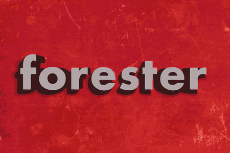 forester: forester word on red concrete wall Illustration