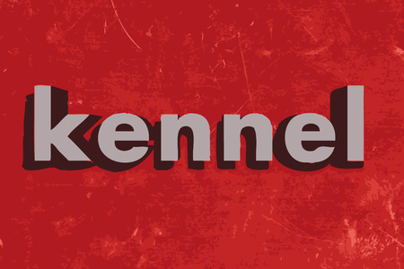 kennel: kennel word on red concrete wall