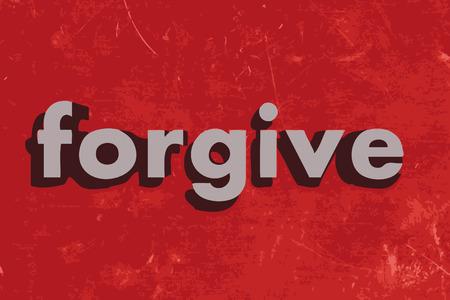 to forgive: perdone la palabra en rojo muro de hormig�n Vectores