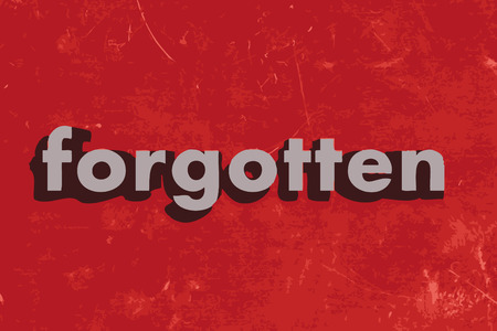 forgotten: forgotten word on red concrete wall Illustration