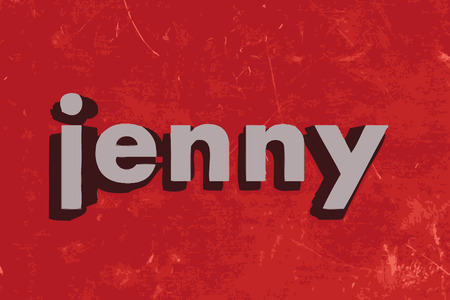 jenny: jenny word on red concrete wall