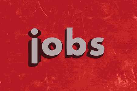 jobs: jobs word on red concrete wall Illustration
