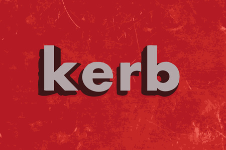 kerb: kerb word on red concrete wall
