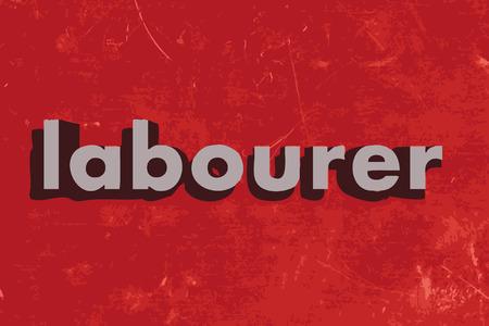 obrero: palabra obrero en rojo muro de hormig�n Vectores