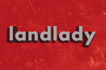 landlady: landlady word on red concrete wall