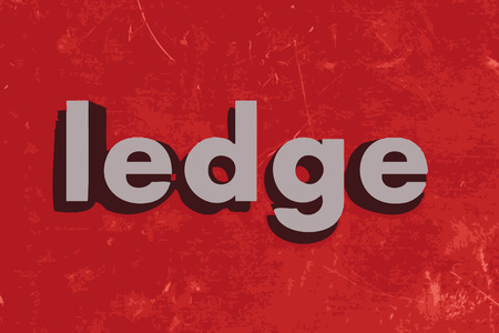 ledge: ledge word on red concrete wall Illustration