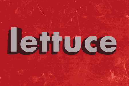 lettuce: lettuce word on red concrete wall