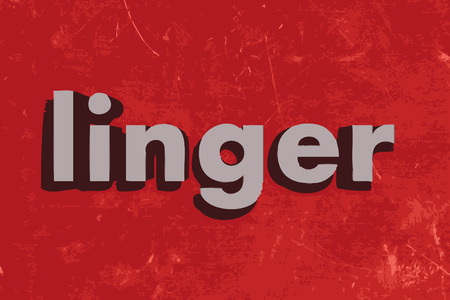 linger word on red concrete wall 向量圖像