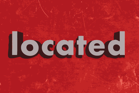 located: located word on red concrete wall Illustration