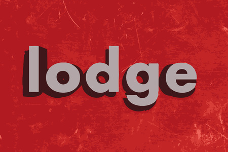 lodge: lodge word on red concrete wall Illustration
