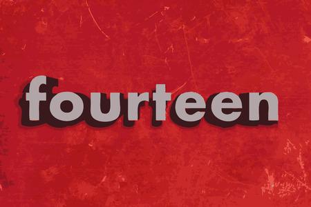 fourteen: fourteen word on red concrete wall