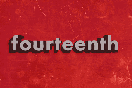 fourteenth: fourteenth word on red concrete wall Illustration