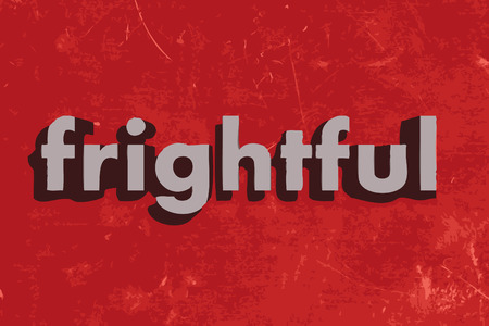 frightful: frightful word on red concrete wall Illustration