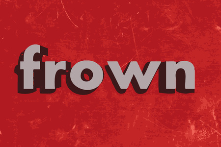 frown: frown word on red concrete wall Illustration