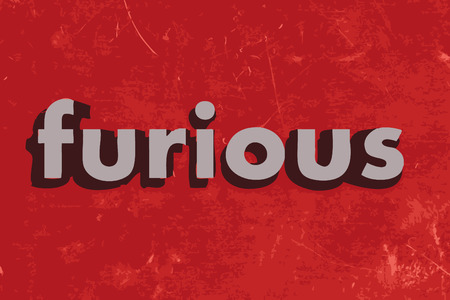 furious: furious word on red concrete wall Illustration