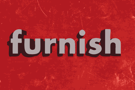 furnish: furnish word on red concrete wall Illustration