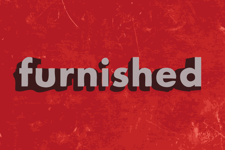furnished: furnished word on red concrete wall Illustration