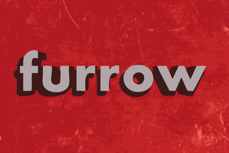 furrow: furrow word on red concrete wall Illustration