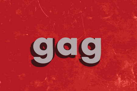gag: gag word on red concrete wall Illustration