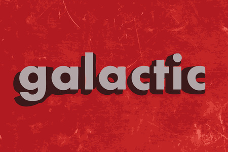 galactic: galactic word on red concrete wall Illustration