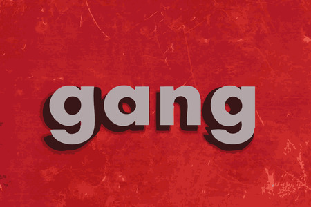 pandilla: palabra de pandillas en la pared roja de hormigón Vectores