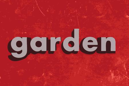 garden wall: garden word on red concrete wall