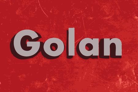 golan: Golan word on red concrete wall
