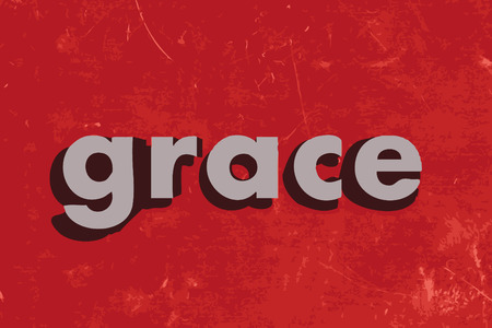 grace: grace word on red concrete wall Illustration