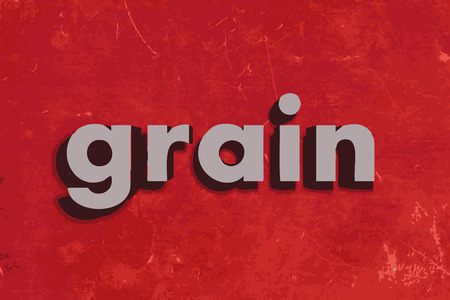 grain: grain word on red concrete wall Illustration
