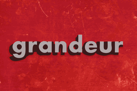 grandeur: grandeur word on red concrete wall Illustration