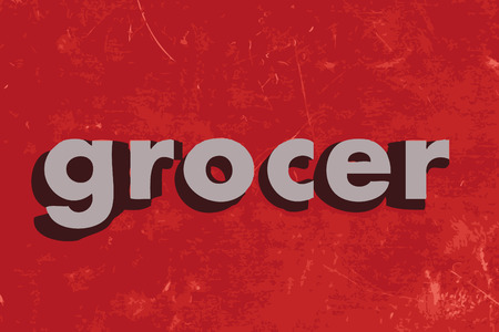 grocer: grocer word on red concrete wall Illustration