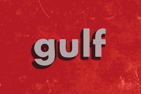 the gulf: gulf word on red concrete wall