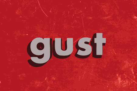 gust: gust word on red concrete wall Illustration