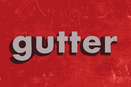 gutter: gutter word on red concrete wall Illustration