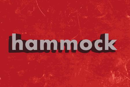 hammock: hammock word on red concrete wall