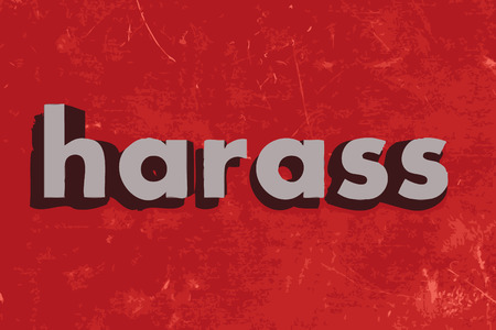 harass: harass word on red concrete wall Illustration