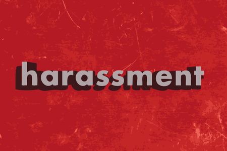 harassment: harassment word on red concrete wall Illustration