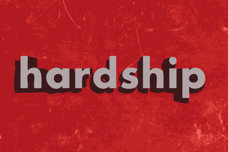 ontbering: hardship word on red concrete wall Stock Illustratie