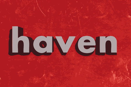 haven: haven word on red concrete wall Illustration