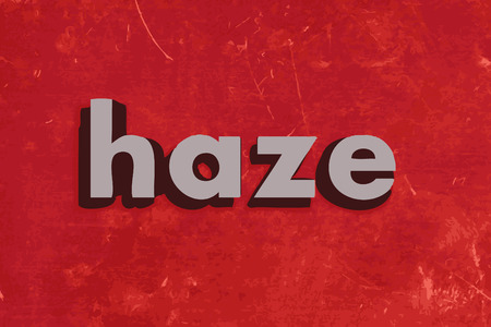 smog: haze word on red concrete wall